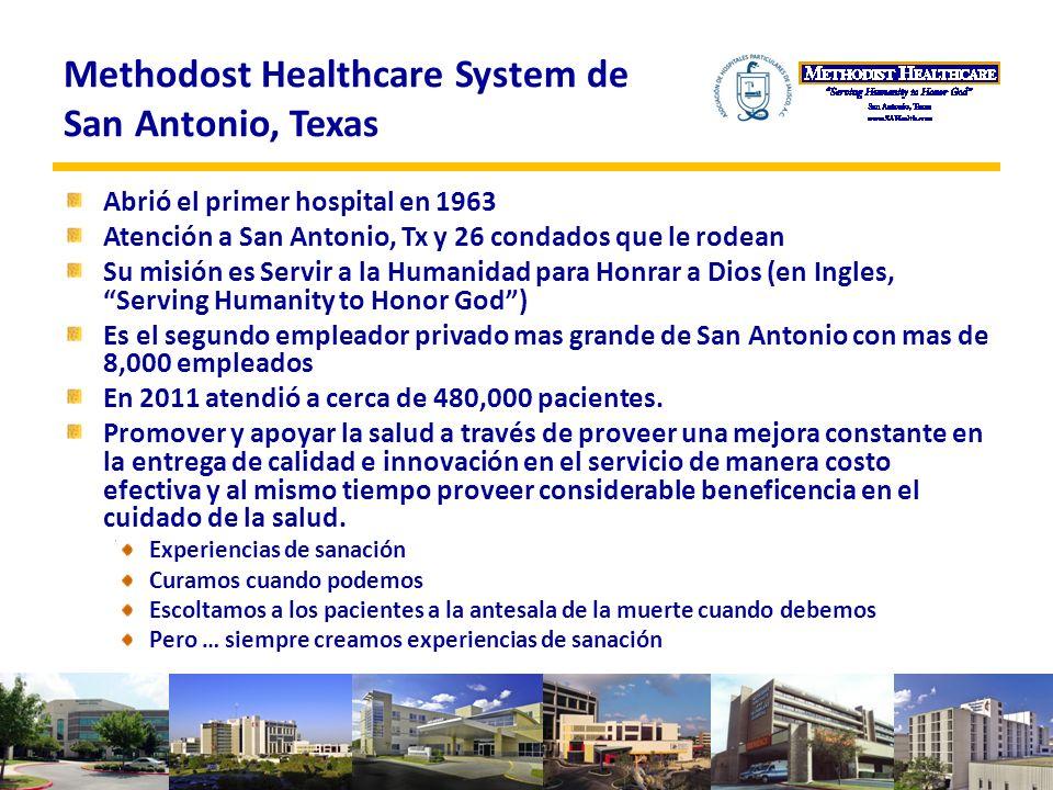 Methodost Healthcare System de San Antonio, Texas Abrió el primer hospital en 1963 Atención a San Antonio, Tx y 26 condados que le rodean Su misión es Servir a la Humanidad para Honrar a Dios (en Ingles, Serving Humanity to Honor God) Es el segundo empleador privado mas grande de San Antonio con mas de 8,000 empleados En 2011 atendió a cerca de 480,000 pacientes.