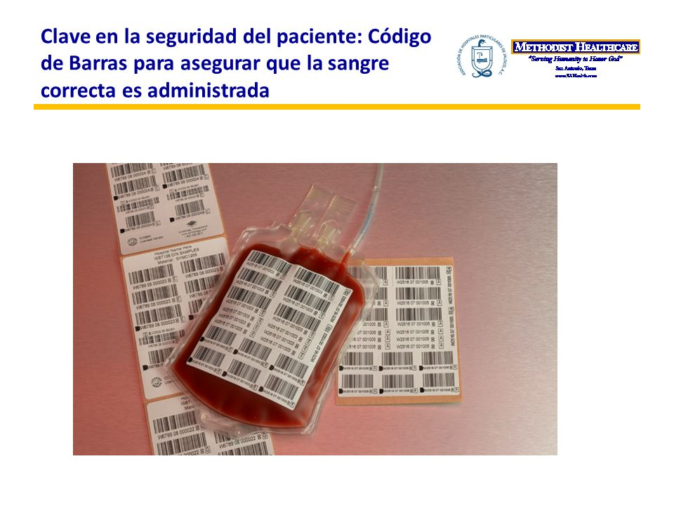 Clave en la seguridad del paciente: Código de Barras para asegurar que la sangre correcta es administrada