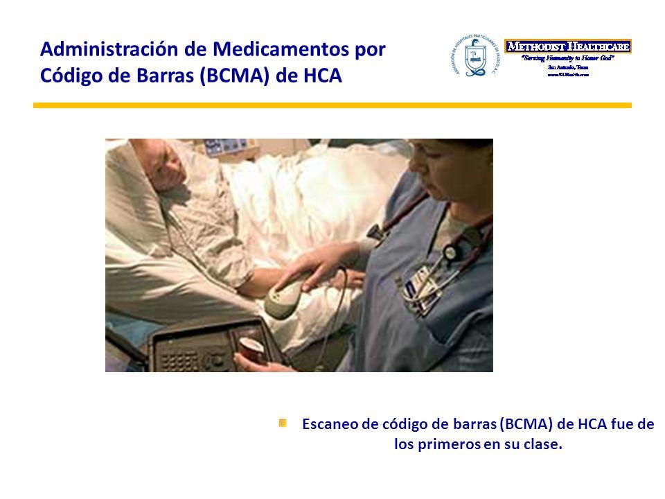 Administración de Medicamentos por Código de Barras (BCMA) de HCA Escaneo de código de barras (BCMA) de HCA fue de los primeros en su clase.