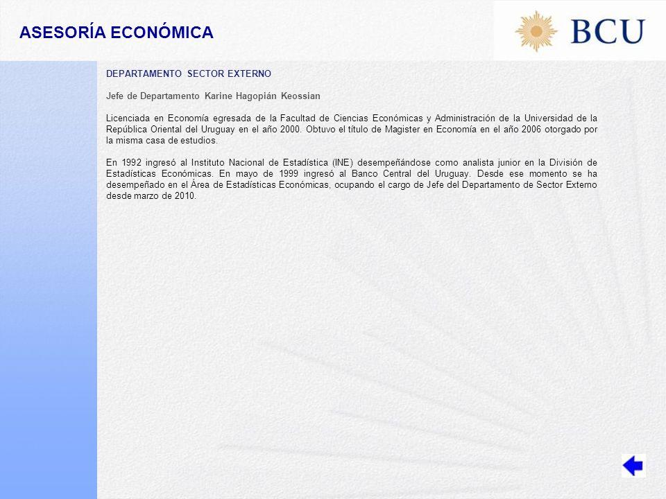 DEPARTAMENTO SECTOR EXTERNO Jefe de Departamento Karine Hagopián Keossian Licenciada en Economía egresada de la Facultad de Ciencias Económicas y Administración de la Universidad de la República Oriental del Uruguay en el año 2000.