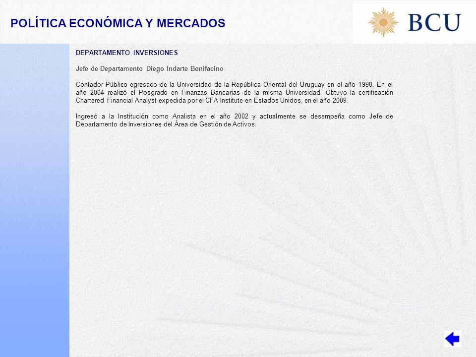 POLÍTICA ECONÓMICA Y MERCADOS DEPARTAMENTO INVERSIONES Jefe de Departamento Diego Indarte Bonifacino Contador Público egresado de la Universidad de la República Oriental del Uruguay en el año 1998.