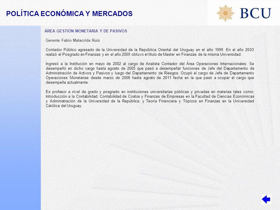 POLÍTICA ECONÓMICA Y MERCADOS ÁREA GESTIÓN MONETARIA Y DE PASIVOS Gerente Fabio Malacrida Ruíz Contador Público egresado de la Universidad de la República Oriental del Uruguay en el año 1999.