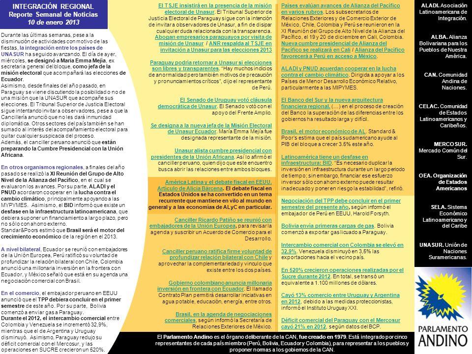 INTEGRACIÓN REGIONAL Reporte Semanal de Noticias 10 de enero 2013 ALADI. Asociación Latinoamericana de Integración. ALBA. Alianza Bolivariana para los
