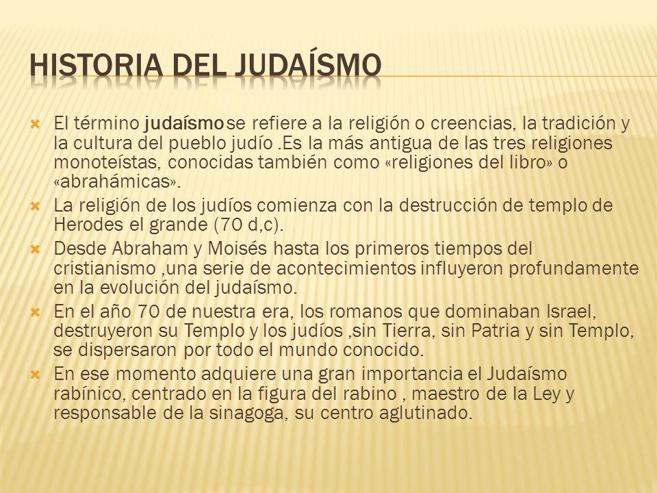 El término judaísmo se refiere a la religión o creencias, la tradición y la cultura del pueblo judío.Es la más antigua de las tres religiones monoteístas, conocidas también como «religiones del libro» o «abrahámicas».
