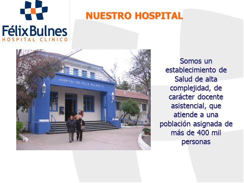 NUESTRO HOSPITAL Somos un establecimiento de Salud de alta complejidad, de carácter docente asistencial, que atiende a una población asignada de más d