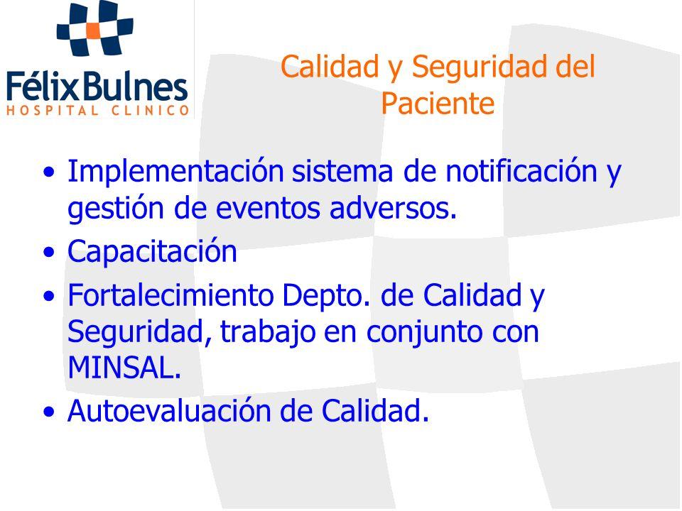 Calidad y Seguridad del Paciente Implementación sistema de notificación y gestión de eventos adversos. Capacitación Fortalecimiento Depto. de Calidad
