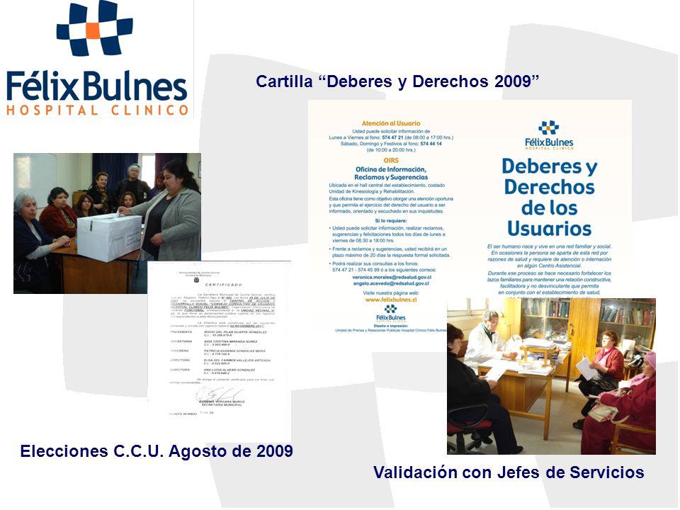 Elecciones C.C.U. Agosto de 2009 Cartilla Deberes y Derechos 2009 Validación con Jefes de Servicios
