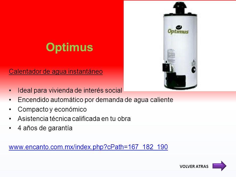 Optimus Calentador de agua instantáneo Ideal para vivienda de interés social Encendido automático por demanda de agua caliente Compacto y económico As