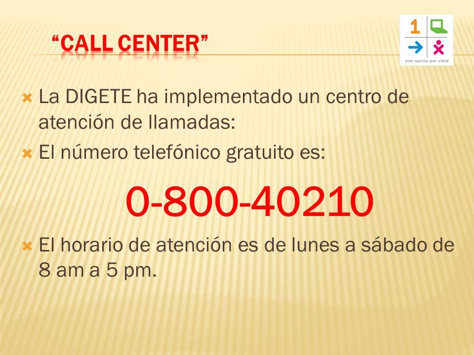 La DIGETE ha implementado un centro de atención de llamadas: El número telefónico gratuito es: 0-800-40210 El horario de atención es de lunes a sábado de 8 am a 5 pm.
