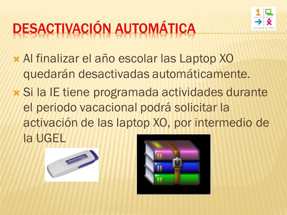 Al finalizar el año escolar las Laptop XO quedarán desactivadas automáticamente.