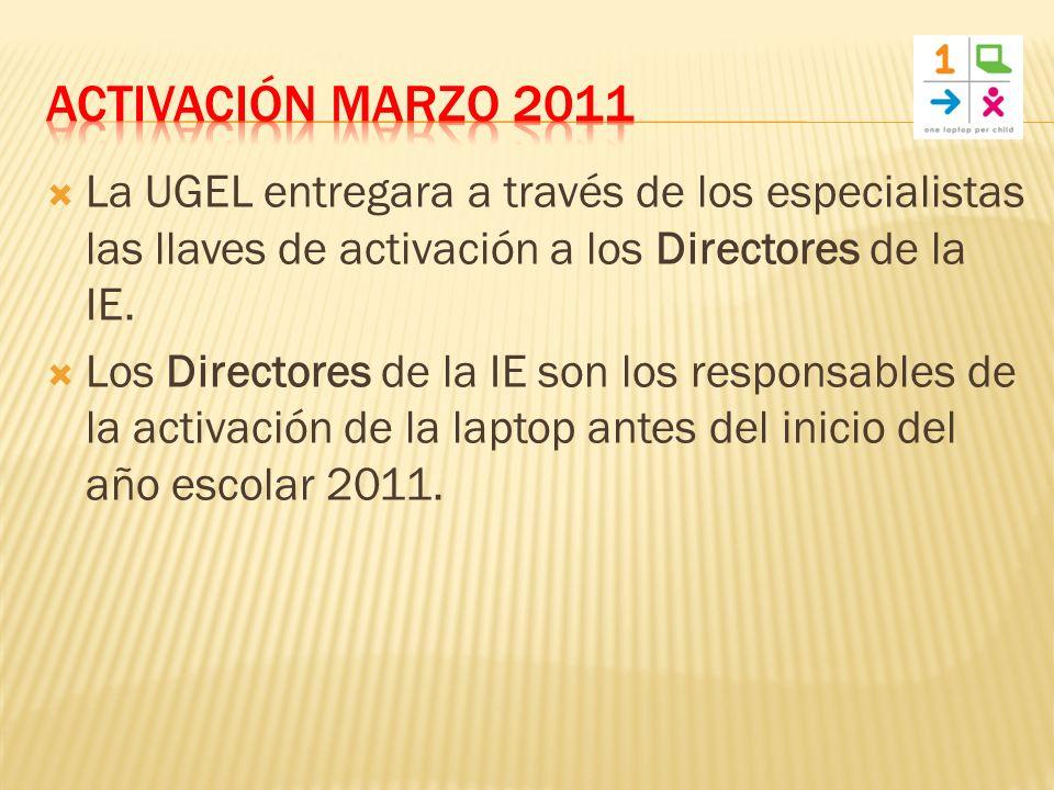 La UGEL entregara a través de los especialistas las llaves de activación a los Directores de la IE.