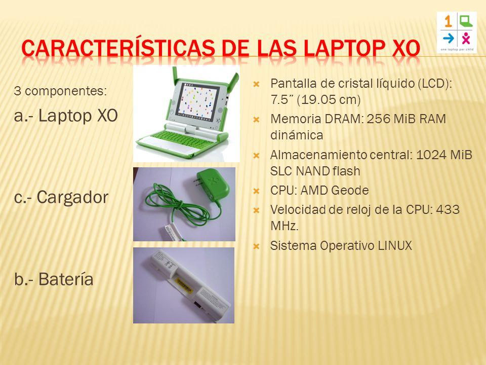 3 componentes: a.- Laptop XO c.- Cargador b.- Batería Pantalla de cristal líquido (LCD): 7.5 (19.05 cm) Memoria DRAM: 256 MiB RAM dinámica Almacenamiento central: 1024 MiB SLC NAND flash CPU: AMD Geode Velocidad de reloj de la CPU: 433 MHz.