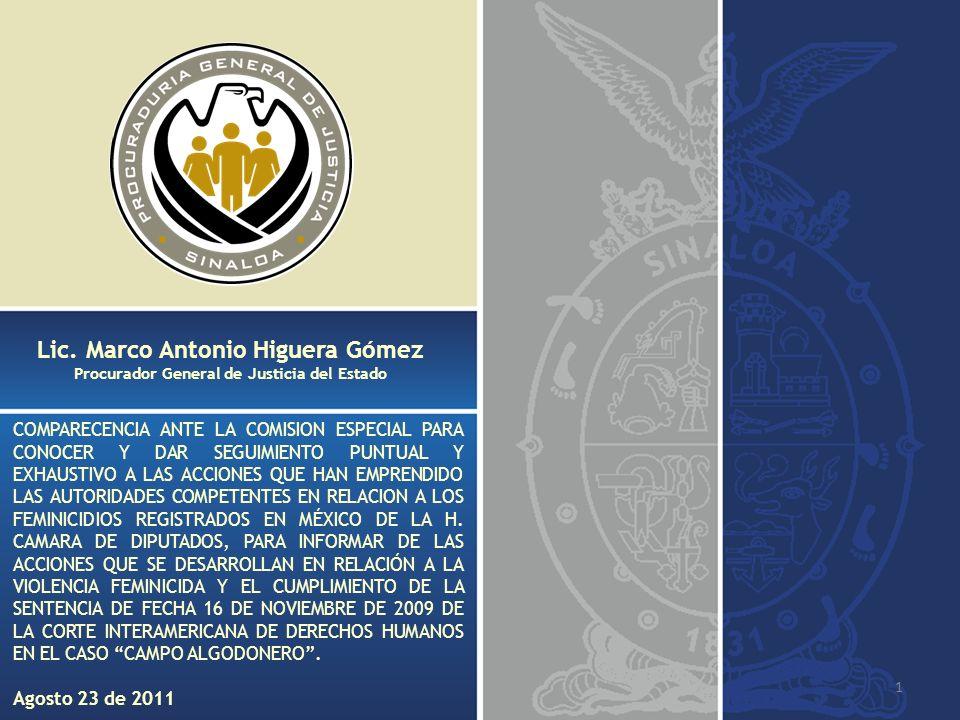 12 Han sido realizadas Mesas de Trabajo de Análisis del Feminicidio en Sinaloa, en las que se realizó un proyecto de Lineamientos de Actuación de los Miembros de las Coordinaciones Policiacas así como de la Procuraduría General de Justicia del Estado, respecto a las víctimas de feminicidio, Participando esta Procuraduría General de Justicia en coordinación con el Instituto Sinaloense de las Mujeres, Comisión Estatal de Derechos Humanos, Frente Cívico Sinaloense, Sindicato Nacional de Trabajadores de la Educación Sección 53, Unidas por la Paz, Profesionistas y Técnicas de Origen Campesino, Procuraduría General de la República, Secretaría de Seguridad Pública Federal, Secretaría de Seguridad Pública del Estado y la Secretaría de Seguridad Pública Municipal.
