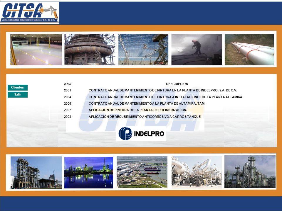 Salir Clientes AÑODESCRIPCION 2003SUMINISTRO Y APLICACIÓN DE PINTURA A 200 EQUIPOS DE MAQUINARIA PESADA 2004SUMINISTRO Y APLICACIÓN DE PINTURA A 50 EQ