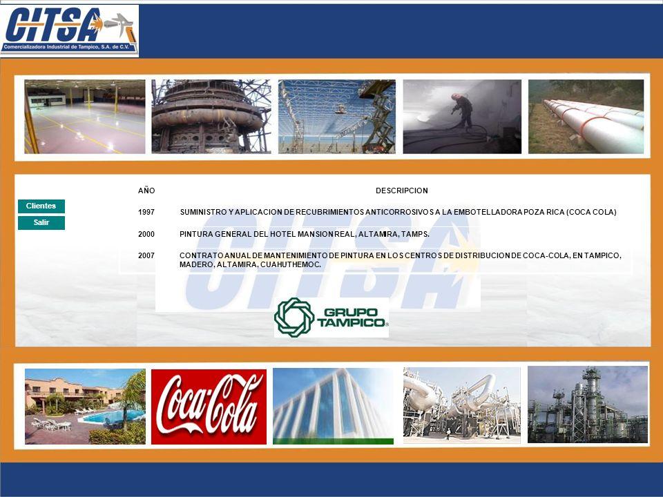 Salir Clientes AÑODESCRIPCION 2001CONTRATO ANUAL DE MANTENIMIENTO DE PINTURA EN LA PLANTA DE INDELPRO, S.A. DE C.V. 2004CONTRATO ANUAL DE MANTENIMIENT