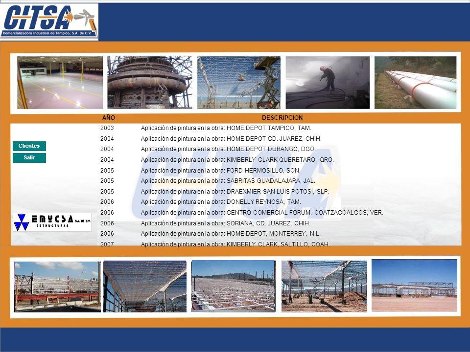 Salir Clientes AÑODESCRIPCION 1998APLICACION DE PROTECCIÓN ANTICORROSIVA A EQUIPOS, LINEAS Y ESTRUCTURASDE ACERO DEL COMPLEJO PETROQUIMICO PROCESADOR DE GAS POZA RICA, EN POZA RICA, VER.