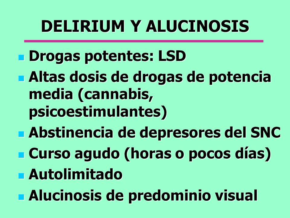 DELIRIUM Y ALUCINOSIS Drogas potentes: LSD Drogas potentes: LSD Altas dosis de drogas de potencia media (cannabis, psicoestimulantes) Altas dosis de d