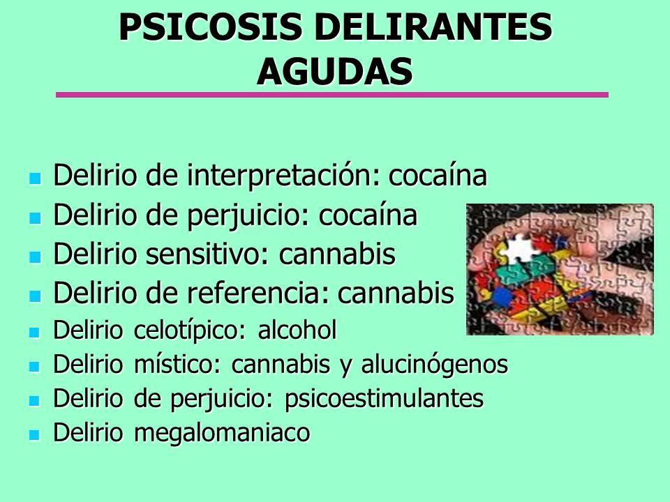 PSICOSIS DELIRANTES AGUDAS Delirio de interpretación: cocaína Delirio de interpretación: cocaína Delirio de perjuicio: cocaína Delirio de perjuicio: c