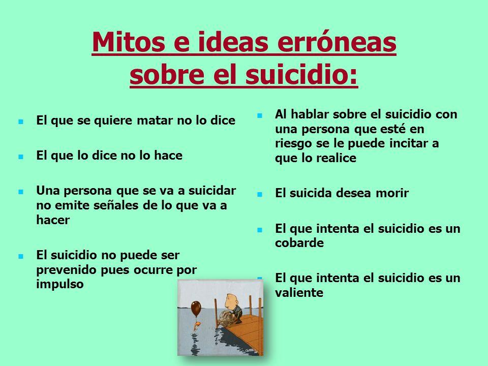 Mitos e ideas erróneas sobre el suicidio: El que se quiere matar no lo dice El que lo dice no lo hace Una persona que se va a suicidar no emite señale