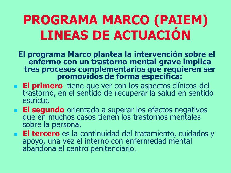 PROGRAMA MARCO (PAIEM) LINEAS DE ACTUACIÓN El programa Marco plantea la intervención sobre el enfermo con un trastorno mental grave implica tres proce