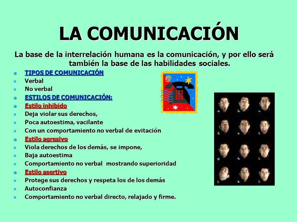 LA COMUNICACIÓN La base de la interrelación humana es la comunicación, y por ello será también la base de las habilidades sociales. TIPOS DE COMUNICAC
