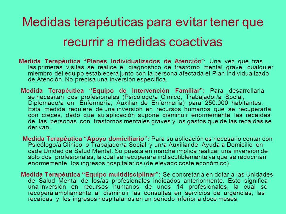 Medidas terapéuticas para evitar tener que recurrir a medidas coactivas Medida Terapéutica Planes Individualizados de Atención: Una vez que tras las p