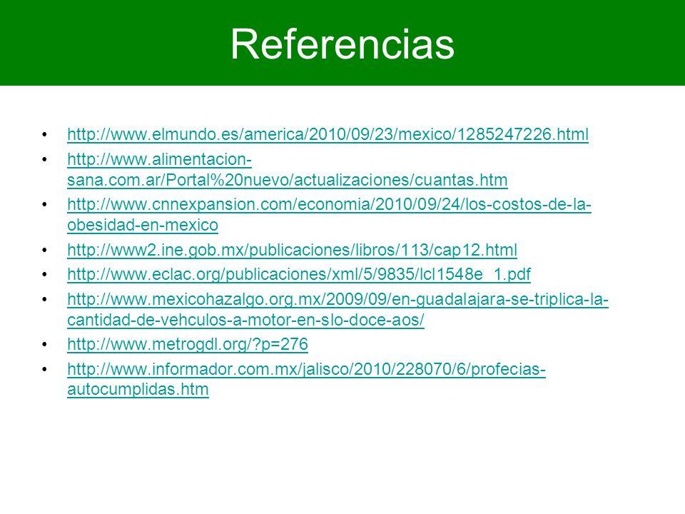 Referencias http://www.elmundo.es/america/2010/09/23/mexico/1285247226.html http://www.alimentacion- sana.com.ar/Portal%20nuevo/actualizaciones/cuanta