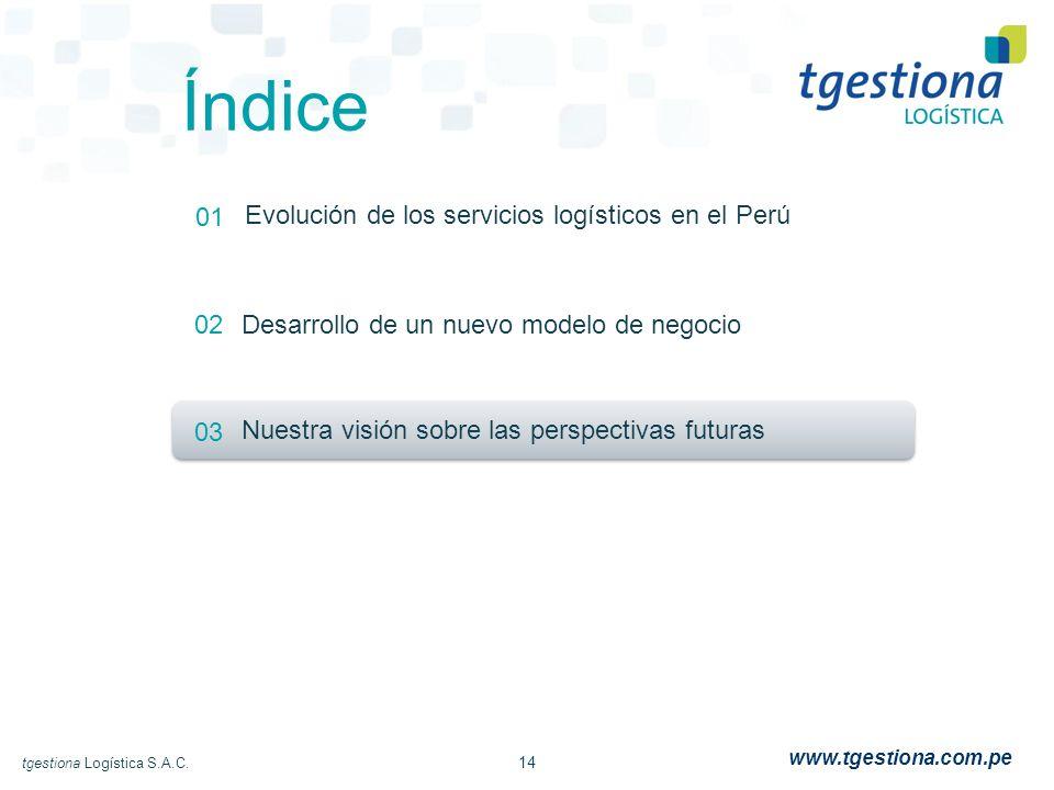 14 tgestiona Logística S.A.C. www.tgestiona.com.pe Índice 01 02 03 Evolución de los servicios logísticos en el Perú Desarrollo de un nuevo modelo de n