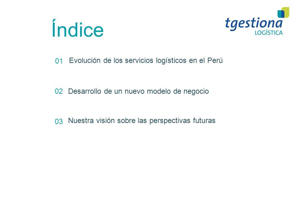 Índice 01 02 03 Evolución de los servicios logísticos en el Perú Desarrollo de un nuevo modelo de negocio Nuestra visión sobre las perspectivas futura