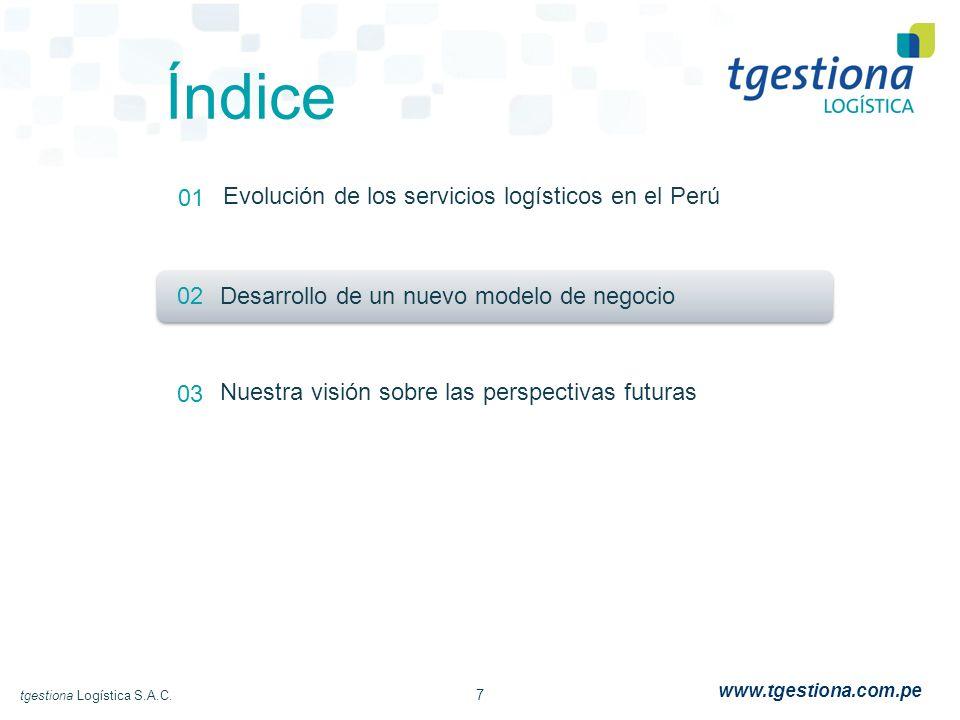 7 tgestiona Logística S.A.C. www.tgestiona.com.pe Índice 01 02 03 Evolución de los servicios logísticos en el Perú Desarrollo de un nuevo modelo de ne