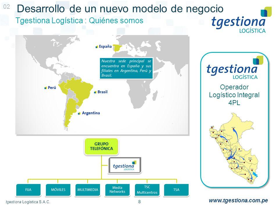 8 tgestiona Logística S.A.C. www.tgestiona.com.pe Desarrollo de un nuevo modelo de negocio Tgestiona Logística : Quiénes somos 02 Operador Logístico I
