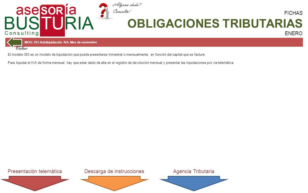 FICHAS OBLIGACIONES TRIBUTARIAS ENERO MOD: 303 Autoliquidación IVA.