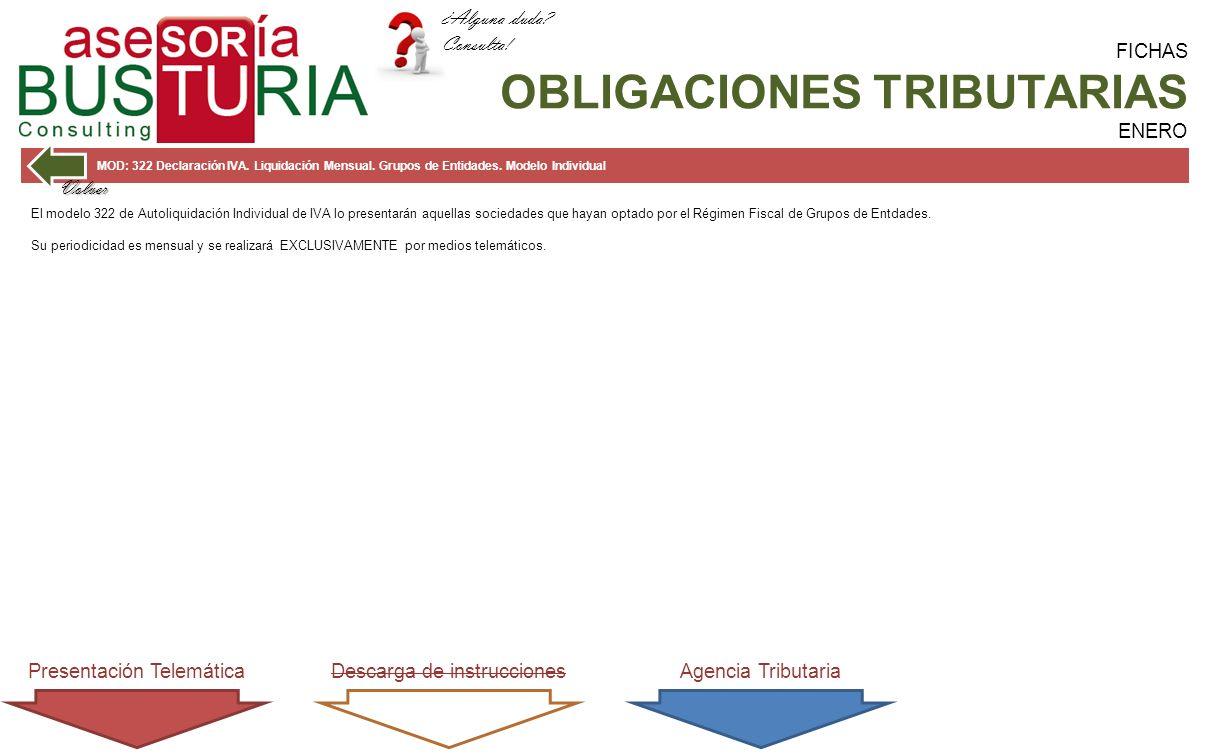 FICHAS OBLIGACIONES TRIBUTARIAS ENERO MOD: 322 Declaración IVA.