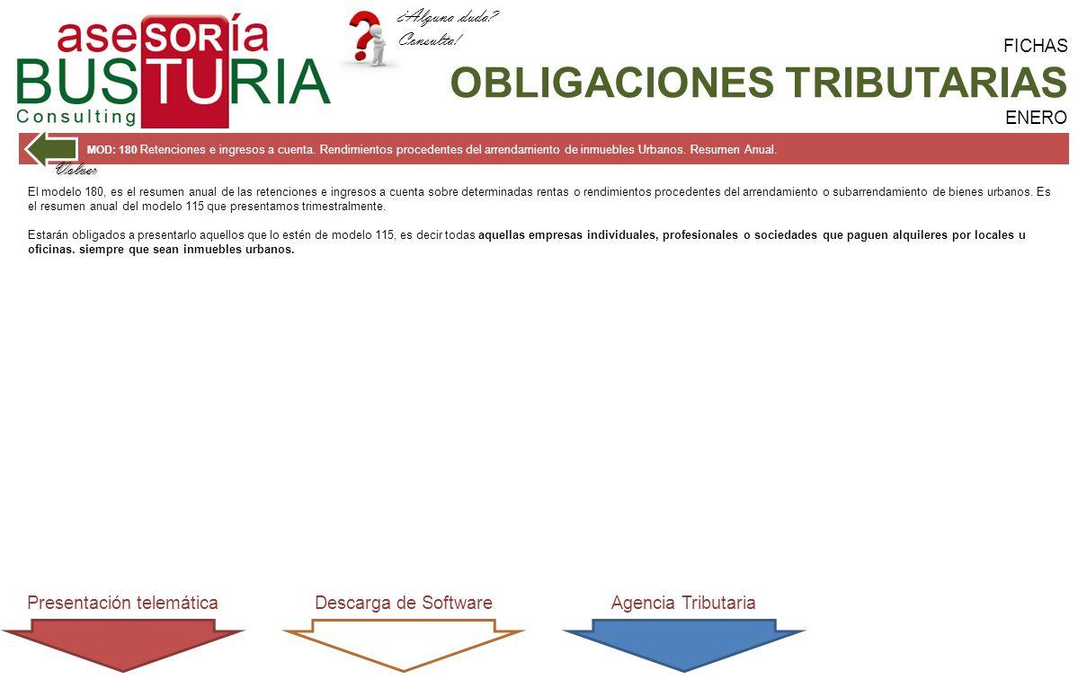 FICHAS OBLIGACIONES TRIBUTARIAS ENERO MOD: 180 Retenciones e ingresos a cuenta.