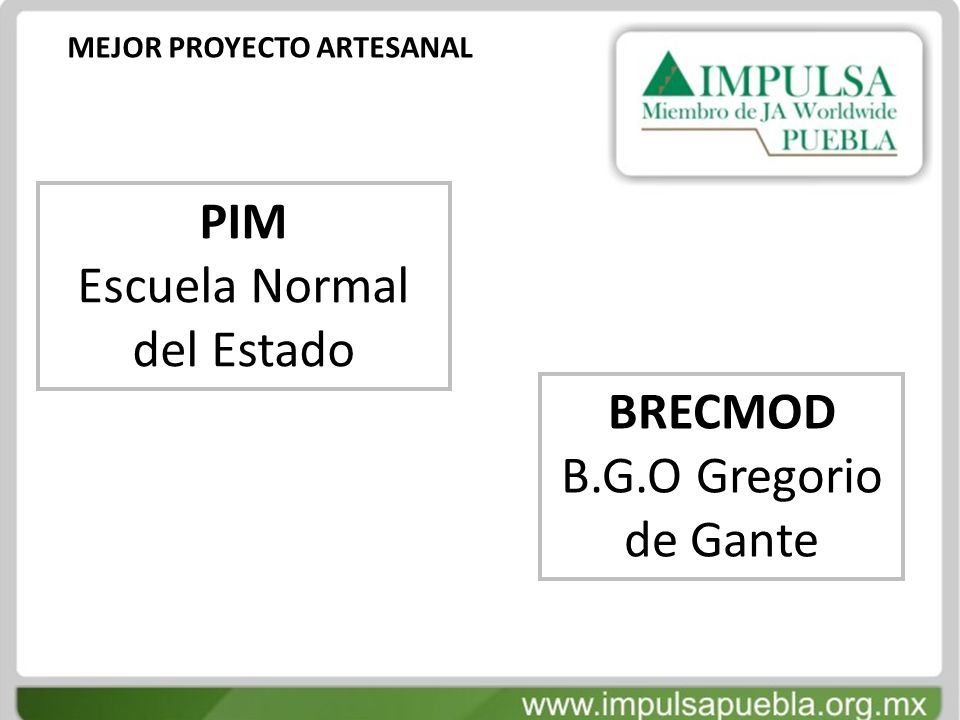MEJOR PROYECTO ARTESANAL PIM Escuela Normal del Estado BRECMOD B.G.O Gregorio de Gante
