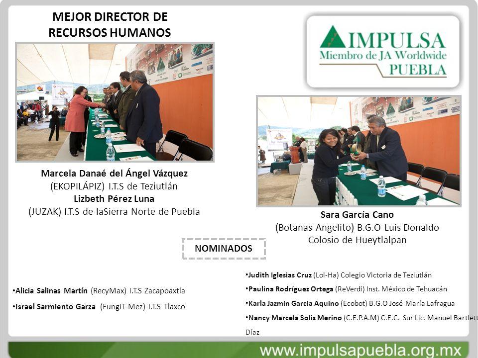 MEJOR DIRECTOR DE RECURSOS HUMANOS Marcela Danaé del Ángel Vázquez (EKOPILÁPIZ) I.T.S de Teziutlán Lizbeth Pérez Luna (JUZAK) I.T.S de laSierra Norte