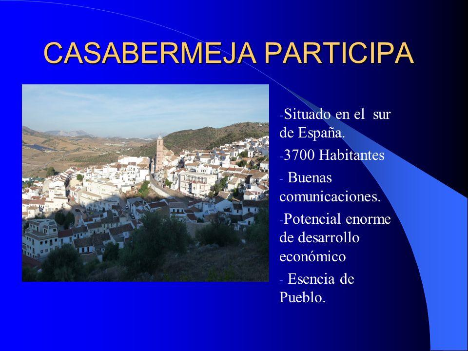 CASABERMEJA PARTICIPA - Situado en el sur de España. - 3700 Habitantes - Buenas comunicaciones. - Potencial enorme de desarrollo económico - Esencia d