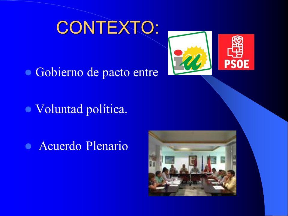CONTEXTO: CONTEXTO: Gobierno de pacto entre Voluntad política. Acuerdo Plenario