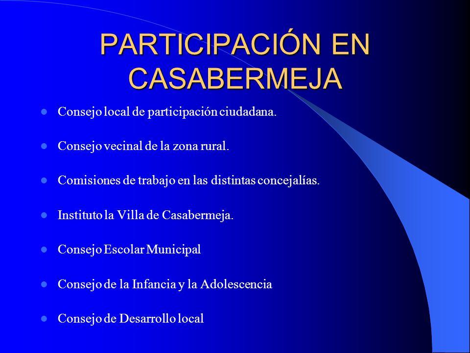 PARTICIPACIÓN EN CASABERMEJA Consejo local de participación ciudadana. Consejo vecinal de la zona rural. Comisiones de trabajo en las distintas concej