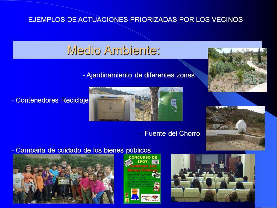 Medio Ambiente: Medio Ambiente: - Ajardinamiento de diferentes zonas - Contenedores Reciclaje - Fuente del Chorro - Campaña de cuidado de los bienes públicos EJEMPLOS DE ACTUACIONES PRIORIZADAS POR LOS VECINOS