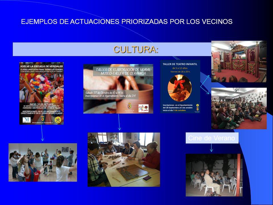 CULTURA: Cine de Verano EJEMPLOS DE ACTUACIONES PRIORIZADAS POR LOS VECINOS
