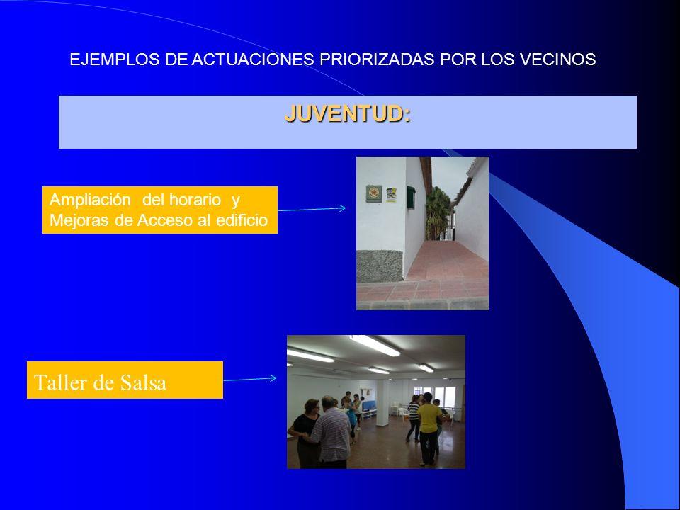 JUVENTUD: Taller de Salsa Ampliación del horario y Mejoras de Acceso al edificio EJEMPLOS DE ACTUACIONES PRIORIZADAS POR LOS VECINOS
