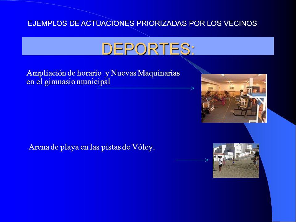 DEPORTES: Ampliación de horario y Nuevas Maquinarias en el gimnasio municipal Arena de playa en las pistas de Vóley. EJEMPLOS DE ACTUACIONES PRIORIZAD
