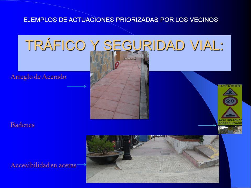 TRÁFICO Y SEGURIDAD VIAL: Arreglo de Acerado Badenes Accesibilidad en aceras EJEMPLOS DE ACTUACIONES PRIORIZADAS POR LOS VECINOS