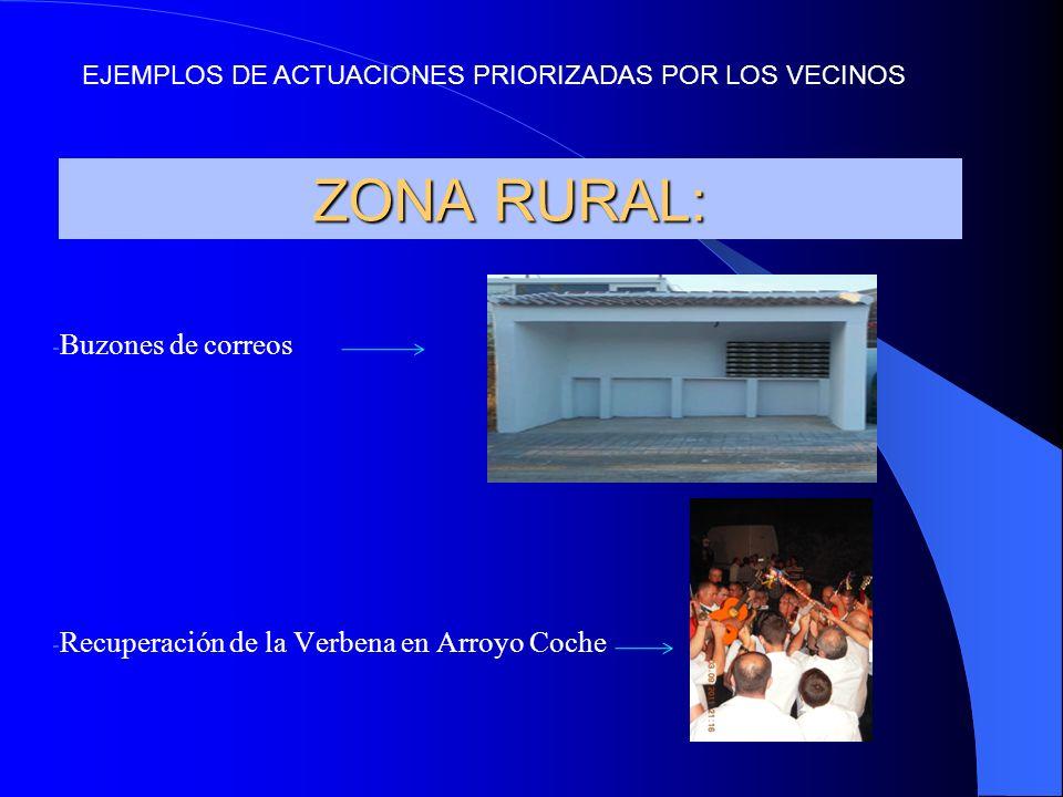 ZONA RURAL: - Buzones de correos - Recuperación de la Verbena en Arroyo Coche EJEMPLOS DE ACTUACIONES PRIORIZADAS POR LOS VECINOS