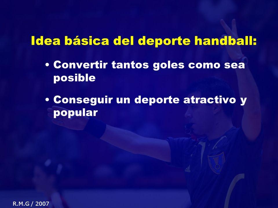 Idea básica del deporte handball: Convertir tantos goles como sea posible Conseguir un deporte atractivo y popular R.M.G / 2007