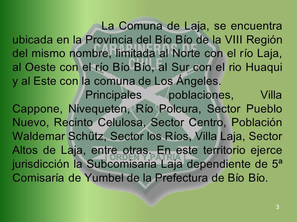 3 La Comuna de Laja, se encuentra ubicada en la Provincia del Bío Bío de la VIII Región del mismo nombre, limitada al Norte con el río Laja, al Oeste con el río Bío Bío, al Sur con el rio Huaqui y al Este con la comuna de Los Ángeles.