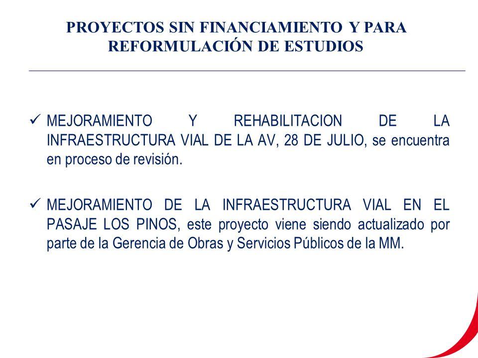 MEJORAMIENTO Y REHABILITACION DE LA INFRAESTRUCTURA VIAL DE LA AV, 28 DE JULIO, se encuentra en proceso de revisión.
