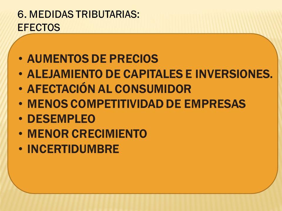 6. MEDIDAS TRIBUTARIAS: EFECTOS AUMENTOS DE PRECIOS ALEJAMIENTO DE CAPITALES E INVERSIONES.