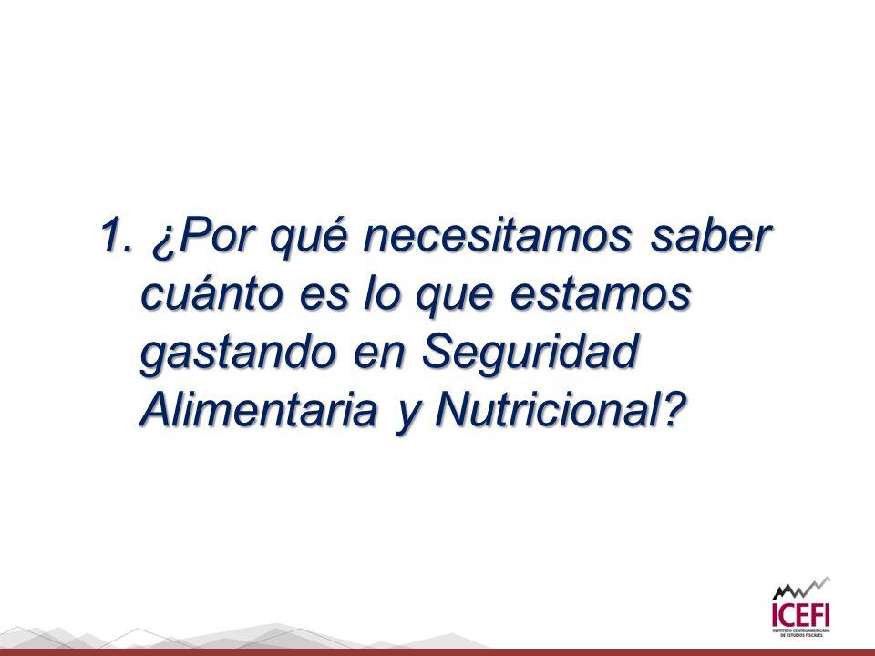 1. ¿Por qué necesitamos saber cuánto es lo que estamos gastando en Seguridad Alimentaria y Nutricional?